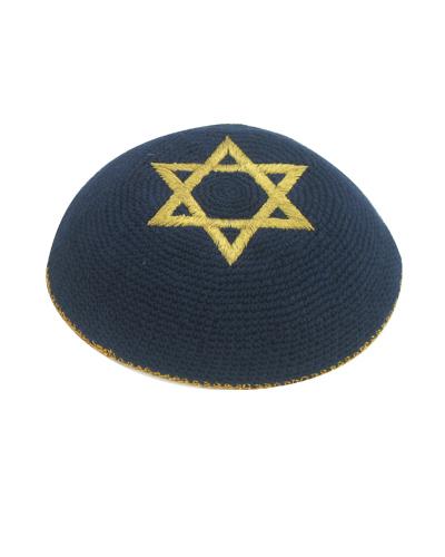כיפה סרוגה כחול מגן דוד זהב 16 סמ