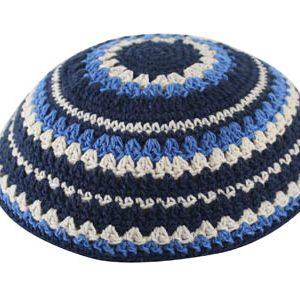 כיפה סרוגה שטיח 20 סמ כחול כהה כחול בהיר ובז'