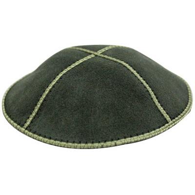 כיפה עור ירוק זית 16 סמ