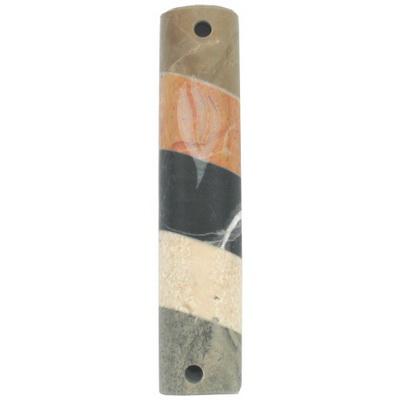 מזוזה שיש פסים אלכסון בצבעים שונים ש חרוט 12 סמ עבודת יד