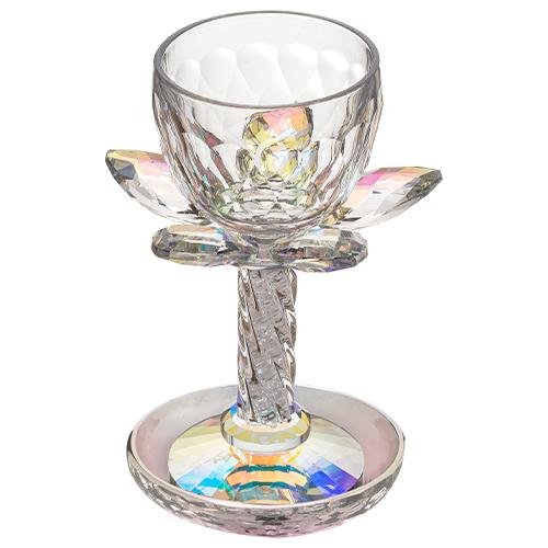 """גביע קריסטל פרח בסיס גוון צבעוני 17.5 ס""""מ"""