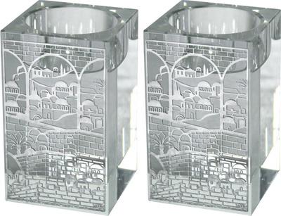 זוג פמוטי קריסטל מרובע עם פלקטה ירושלים 8 סמ
