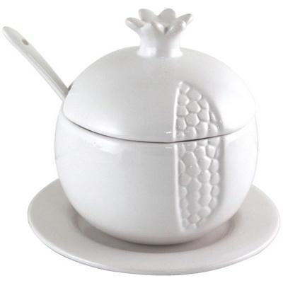 """כלי לדבש קרמיקה רימון לבן עם תחתית 11 ס""""מ"""