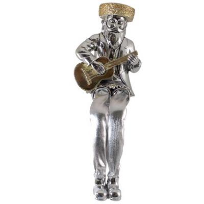 """חסיד מוכסף עם רגלי בד גיטרה 16 ס""""מ"""