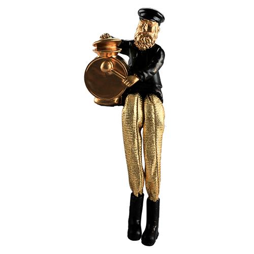 חסיד יושב מפוליריזין - שחור עם רגלי בד זהב מנגן בתופים