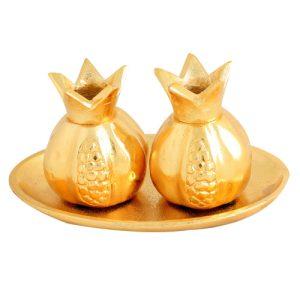 """פמוטי אלומיניום """"רימון"""" זהב עם מגש 11x17 ס""""מ"""