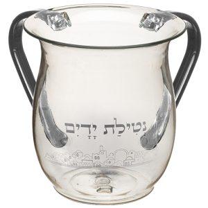 """נטלה אקריליק דגם """"ירושלים כסף"""" ידיות אפור 13 ס""""מ"""