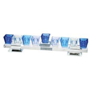 """חנוכיית קריסטל מהודרת בגווני כחול עם בסיס 5x27 ס""""מ"""