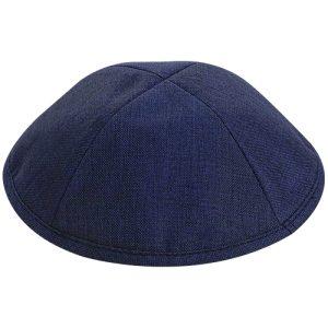 """כיפה פשתן מהודרת כחול כהה מידה 3 גודל 18.5 ס""""מ"""