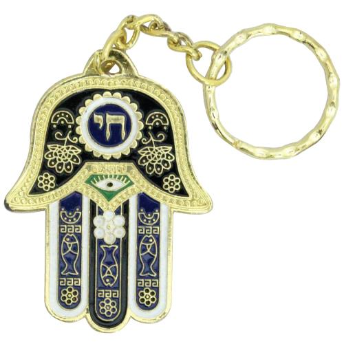 """מחזיק מפתחות דגם """"חי"""" כחול 6 ס""""מ עברית"""