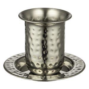 גביע קידוש מהודר מנירוסטה מרוקעת בלי רגל