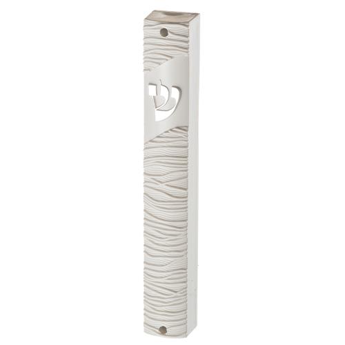 """מזוזת פלסטיק דגם סלילים 12 ס""""מ לבן"""