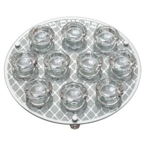 """פמוט זכוכית עם 10 פמוטים קריסטל 33 ס""""מ"""