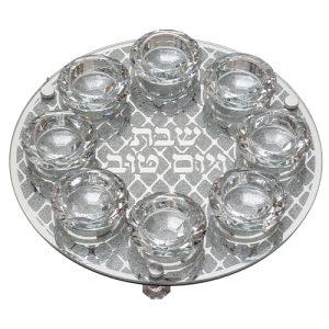 """פמוט זכוכית עם 8 פמוטים קריסטל 27 ס""""מ"""