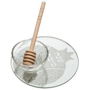 """כלי זכוכית לדבש מהודר עם כפית עץ 13 ס""""מ"""